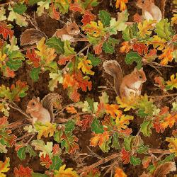 RJ700-HI1M Shades of Autumn - Woodland Friends - Hickory Metallic Fabric