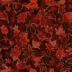 RJ702-MA3M Shades of Autumn - Turning Over a New Leaf - Mahogany Metallic Fabric