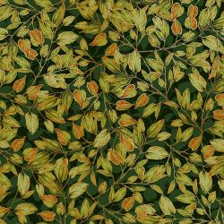 RJ703-FO1M Shades of Autumn - Dancing Leaves - Forest Metallic Fabric