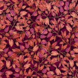 RJ703-MU2M Shades of Autumn - Dancing Leaves - Mulberry Metallic Fabric