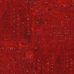 2956-002 Silver Circuits - Traces - Red Metallic Fabric