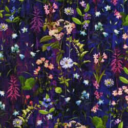3088-001 Wildwood Way - Under The Moonlight - Delphinium Digiprint Fabric