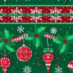 2734-001 Christmas Wishes - Festive Festoon - Evergreen Fabric
