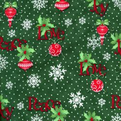 2735-001 Christmas Wishes - Tidings Tumbler - Evergreen Fabric