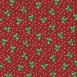 2737-001 Christmas Wishes - Bits Of Holly - Holiday Red Fabric