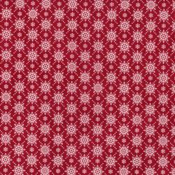 2738-002 Christmas Wishes - Snowfall - Holiday Red Fabric