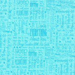 2636-002 First Words - Words - Jade Blue Fabric
