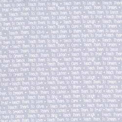 2639-002 First Words - News Print - Gray Fabric