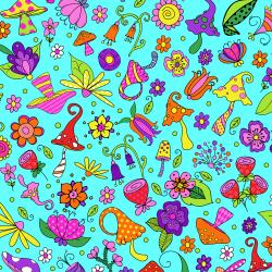 SM403-CY2 Garden Gnomes - Forest Floor - Cyan Fabric