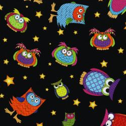 3123-001 Happy Owl-O-Ween - Owls Everywhere Toss - Bat Black Fabric