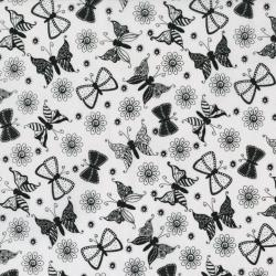 2462-001 Ink Blossom - White Fabric