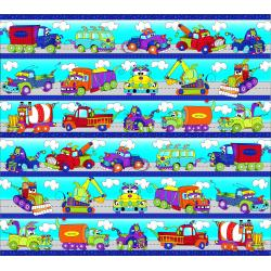 3029-001 Monster Trucks - Road Runner Stripe - Blue Fabric