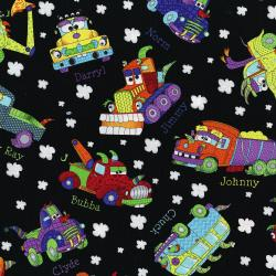 3030-002 Monster Trucks - Truck Toss - Black Fabric