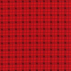 3032-001 Monster Trucks - Logger Plaid - Firetruck Red Fabric