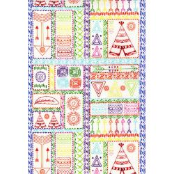 3330-003 Pow Wow Wow! - Patchwork Symbols - Bright White Fabric