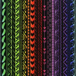 3332-003 Pow Wow Wow! - Stripe - Bright Black Fabric
