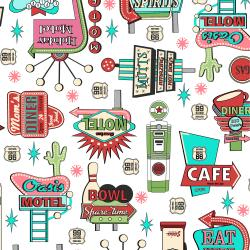3620-002 Retro Road Trip - Signs - White Fabric