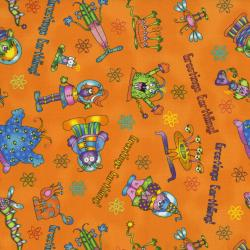 2038-004 Welcome To My World - Alien Toss - Orange Fabric