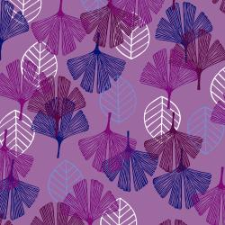 TS101-PU2 Happy Day - Leaf - Purple Fabric