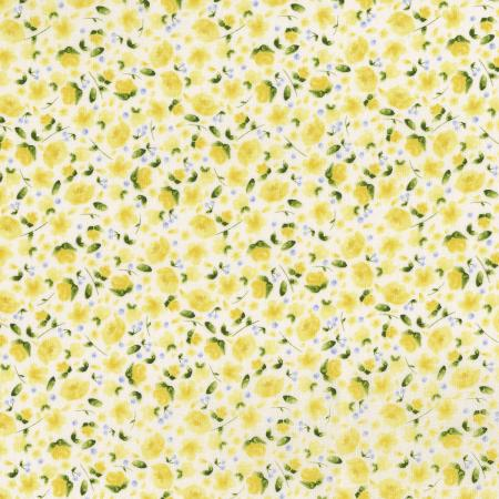 3296-003 June\'s Cottage - Forget Me Not - Cream And Sugar Fabric