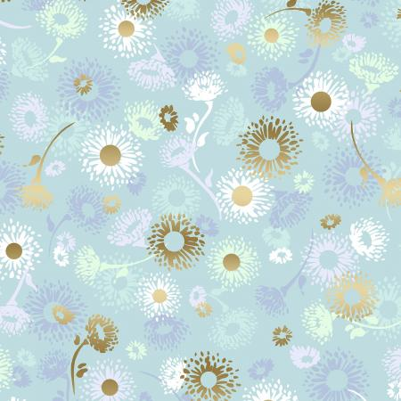 FF501-OP4M Shiny Objects - Good as Gold - English Daisies - Opal Metallic Fabric 1