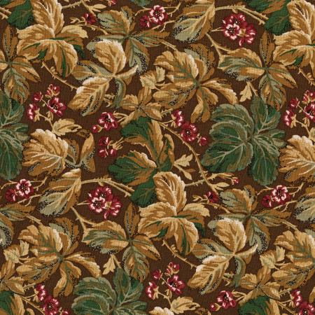 3051-001 River Song - Leaf Cluster - Chocolate Fabric