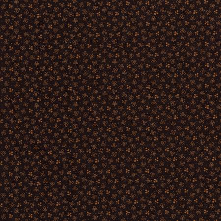 3061-002 River Song - Three Petal Sprig - Chocolate Fabric