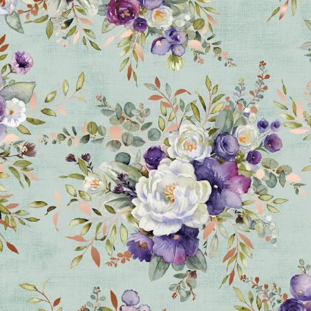 PS100-SA1M Lilac & Sage - Bouquet - Sage Copper Pearl Metallic Fabric 1
