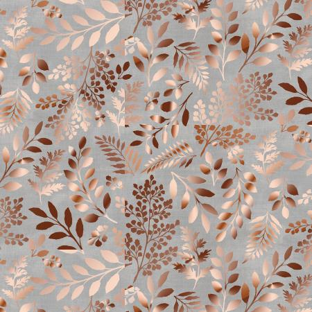 PS103-GY3M Lilac & Sage - Leaves - Gray Copper Pearl Metallic Fabric 1