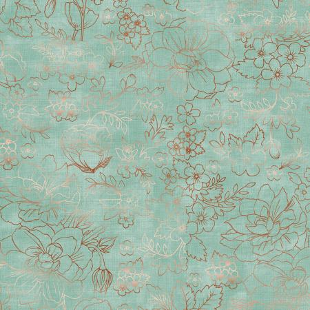 PS104-GR2M Lilac & Sage - Toile - Green Copper Pearl Metallic Fabric 1
