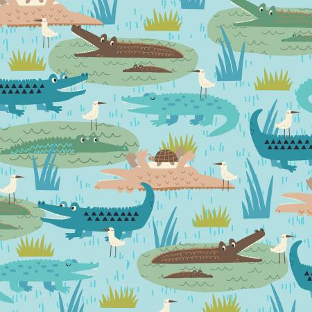 RJ1300-TE3 Adventure - Gators - Teal Fabric 1