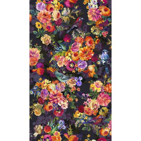 RJ801-ON1D Arcadia - Secret Garden - Onyx Digiprint Fabric