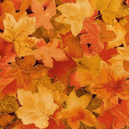 3117-002 Autumn Air - Forest Floor - Maple Metallic Fabric