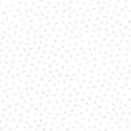 0348-001 Bare Essentials Deluxe - Paw Prints - White/White Fabric