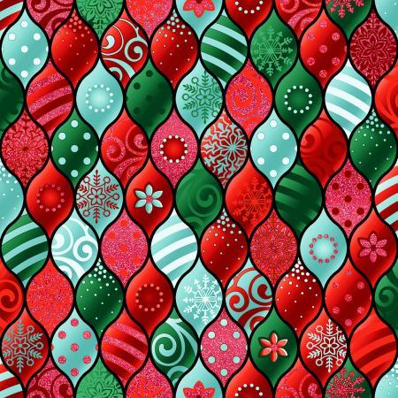 RJ604-HO1M Evergreen - Baubles - Holiday Metallic Fabric