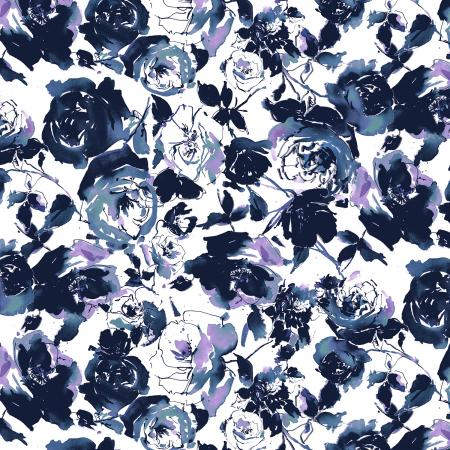 RJ1800-MI2 Ink Rose - Rose Garden - Midnight Fabric 1