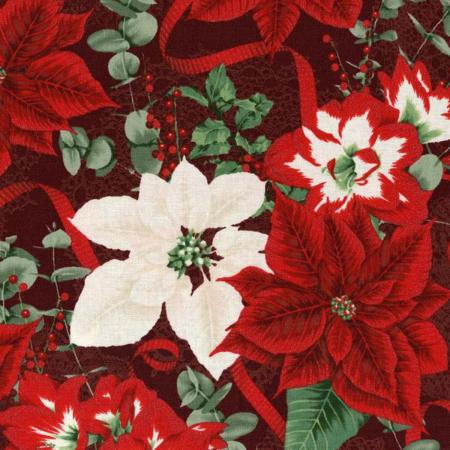 3483-001 Let It Sparkle - Holiday Bouquet - Radiant Crimson Metallic Fabric