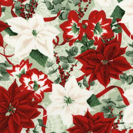 3483-002 Let It Sparkle - Holiday Bouquet - Radiant Silver Sage Metallic Fabric
