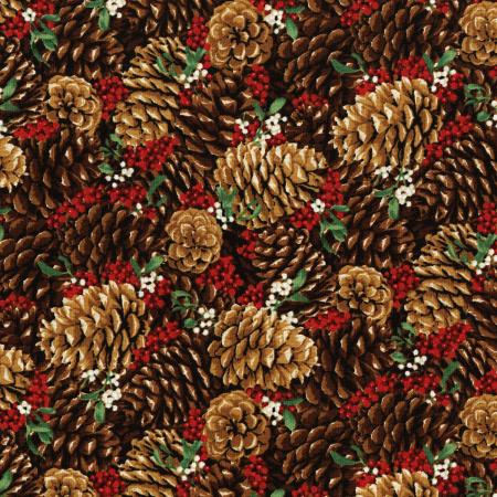3487-001 Let It Sparkle - Pretty Pine Cones - Radiant Berry Metallic Fabric