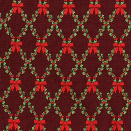 3490-001 Let It Sparkle - Bows And Holly - Radiant Crimson Metallic Fabric