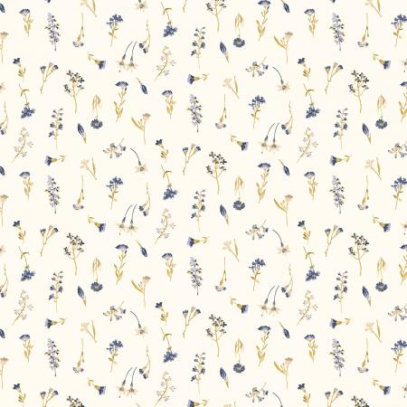 RJ2403-GT1 Pressed Floral - Pressed Petals - Gold Trail Fabric