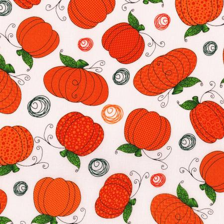 3124-002 Happy Owl-O-Ween - Pumpkin Patch - Ghost White Fabric