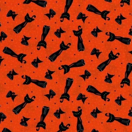 3125-001 Happy Owl-O-Ween - Scary Kitty Toss - Punkin Orange Fabric