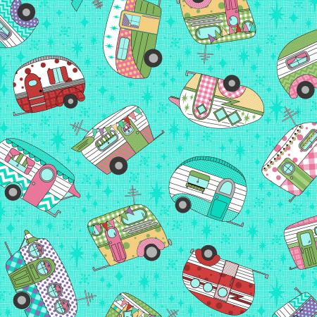 3619-001 Retro Road Trip - Camper Toss - Aqua Fabric